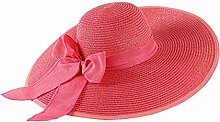 Sonnenhut Strand-Hut Sommer-Sonnenschutz groß entlang der faltbaren Strohhut-Reise-Kappe ( Farbe : Wassermelonenrot )