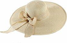 Sonnenhut Strand-Hut Sommer-Sonnenschutz groß entlang der faltbaren Strohhut-Reise-Kappe ( Farbe : Cream color )