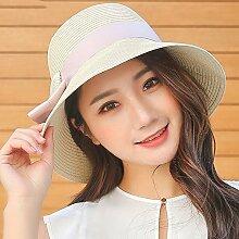 Sonnenhute YANFEI Sonnenschutz UV Schutz Freizeit Urlaub Strand Hut (Farbe : Beige)