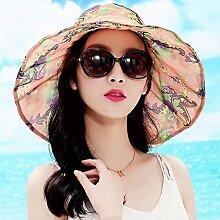 Sonnenhute YANFEI Visor Hut Sonnenschutz zusammenklappbar Freizeit Urlaub Strand Hut (Farbe : B)