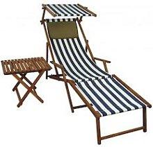 Sonnenliege blau-weiß Strandliege Holzliege Buche