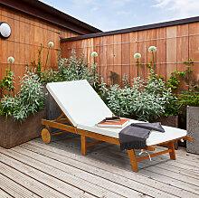 Sonnenliege Holz Gartenliege mit verstellbarer