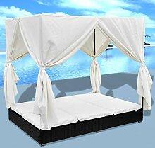 Sonnenliege mit Vorhängen und Kissen, Rattanliege