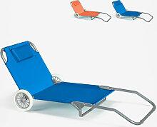 Sonnenliege Strandliege Stahl Tragbar mit Rollen