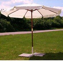 Sonnenschirm 3m, Landhausschirm 3 Meter, Marktschirm mit Hartholzgestänge 300cm, beige, Schirm mit Seilzug