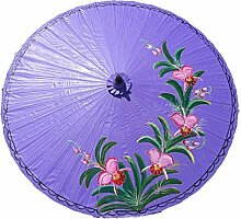 Sonnenschirm Deko Motiv Orchideen Ø 250cm 100% Handgefertigt & Equitable - viole