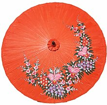 Sonnenschirm Deko Motiv Orchideen Rosa ø 250cm 100% Handgefertigt & Equitable - Orange