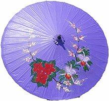 Sonnenschirm Deko Motiv Orchideen und Iris Ø 250cm 100% Handgefertigt & Equitable - viole