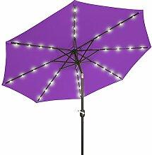 Sonnenschirme 3 M Crank Solar Lichtschirm Markt Terrasse Outdoor LED Regenschirme Selbstaufladung LED Gartenschirm (Farbe : Lila)