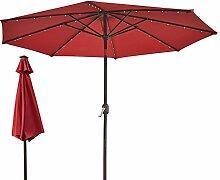 Sonnenschirme 3 M Crank Solar Lichtschirm Markt Terrasse Outdoor LED Regenschirme Selbstaufladung LED Gartenschirm (Farbe : Rot)