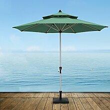 Sonnenschirme Markt-Patio-im Freien Regenschirm-Garten-Rasen-Tabelle Sun-Kabinendach-doppelter Spitzen-Aluminiumregenschirm-UVschutz (Farbe : Dunkelgrün)