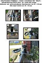 SONNENSCHIRMHALTER - MIT GUMMISCHUTZKAPPEN zur kratzfreien BEFESTIGUNG - 5 - fach verstellbare MULTI - Halterung 360 ° für Befestigungen von Schirmstöcken bis 40 mm - an runden oder eckigen Elementen von 25 bis 55 mm - Made in Germany - INNOVATIONEN MADE in GERMANY - HOLLY PRODUKTE STABIELO ® - holly-sunshade ®