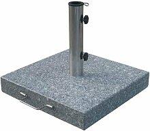 Sonnenschirmständer aus Granit - eckig - Gewicht 30 kg - Schirmständer mit Rollen und Feststellschrauben
