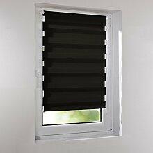 Sonnenschutz-HH Standard Klemmfix Duo-Rollo, ohne Bohren - Anthrazit ( dunkelgrau , schwarz ) 90 cm x 160 cm (B x L) inkl. Klemmträger