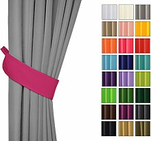 Sonnenschutz und Sichtschutz 2er Pack Vorhänge mit Tunnelband (Dunkel Pink 11, Drapierung) Dekorative Blickdicht 2 Stücke Gardinen, Vorhang Schal für Schlafzimmer, Kinderzimmer, Wohnzimmer 40 FARBEN!!