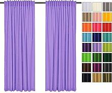 Sonnenschutz und Sichtschutz 2er Pack Vorhänge mit Tunnelband (Lavendell 19, 135x150 cm - BxH) Dekorative Blickdicht 2 Stücke Gardinen, Vorhang Schal für Schlafzimmer, Kinderzimmer, Wohnzimmer 40 FARBEN!!