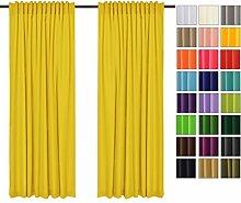 Sonnenschutz und Sichtschutz 2er Pack Vorhänge mit Tunnelband (Gelb 5, 135x150 cm - BxH) Dekorative Blickdicht 2 Stücke Gardinen, Vorhang Schal für Schlafzimmer, Kinderzimmer, Wohnzimmer 40 FARBEN!!