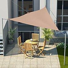 Sonnensegel Dreieck 3x3x3 m Beige inkl. Karabiner Spannfedern Spannseil Sonnenschutz für Garten Pool Terasse