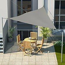 Sonnensegel Dreieck 3x3x3 m Grau inkl. Karabiner Spannfedern Spannseil Sonnenschutz für Garten Pool Terasse