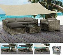 Sonnensegel in versch. Erdtönen - quadratisch, 5 x 5 m - Sonnenschutz wetterfest und stabil - von matrasa (Schwarz)