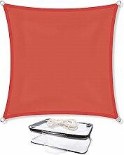 Sonnensegel Sonnenschutz Garten | UV-Schutz PES Polyester wasser-abweisend imprägniert | CelinaSun 0010542 | Quadrat 3 x 3 m terrakotta