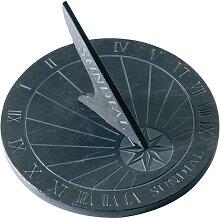 Sonnenuhr aus Schiefer, H 16cm, Ø 25cm, rund, Gartendeko, grau, Esschert Design (26,95 EUR / Stück)