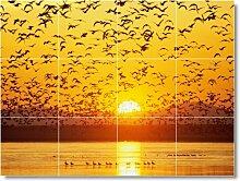 Sonnenuntergang Bild Badezimmer Fliesen Wand S004. 45,7x 61cm mit (12) 6x 6Keramik Fliesen.