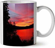 Sonnenuntergang Dämmerung Foto Natur Fluss Abend WeißTee KaffeKeramik Becher 11 | Wellcoda