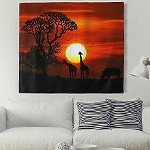 Sonnenuntergang Giraffe Baum Wandteppich Tiere