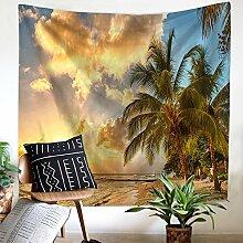 Sonnenuntergang Meer Palmen Wandteppich Wandbehang