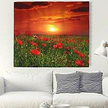 Sonnenuntergang Mohnblume Wandteppich Natur