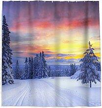 Sonnenuntergang Schnee Duschvorhang mit