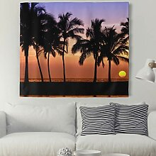 Sonnenuntergang Strand Palmen Wandteppich Ozean
