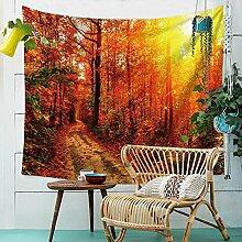 Sonnenuntergang Wald Ahornblatt Wandteppich Natur