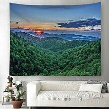 Sonnenuntergang Wald Berge Wandteppich Natur