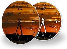 Sonneuntergang - Moderne Wanduhr mit Fotodruck auf Polycarbonat   Fotouhr Bilderuhr Motivuhr Küchenuhr modern hochwertig Quarz   Variante:30 cm rund mit weißen Zeigern