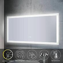 Sonni - Badspiegel LED Touch mit Beleuchtung Uhr