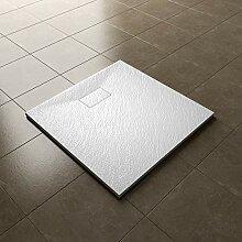 SONNI Duschwanne 90x90 cm Weiß Steinoptik