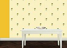 Sonnig gelbe Tapete mit exotischen Blumen auf