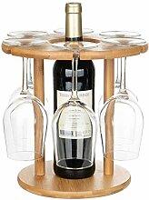 SOPRETY Weinglas-Halter aus Holz, 6 Stiel für
