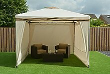 SORARA Stählern Pavillon Party Zelt   Beige/Sand   300 x 300 cm/3 x 3m Robust (UV 50+) Für Garten, Patio, Outdoor   Partyzel