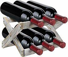 Sorbus Rustikales Weinregal für 6 Flaschen,