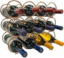 Sorbus Weinregal mit 3 Ebenen, stapelbar, rund,