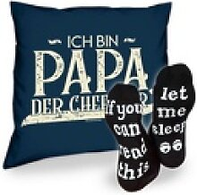 Soreso® Dekokissen Kissen Ich bin Papa der Chef