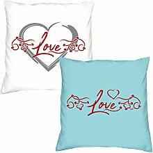 Soreso Design 2er-Set Kissen 40x40 : Geschenkidee Liebe Valentinstag : Valentinstagsgeschenk :: Love Herz & Love : Farben: weiss & hellblau
