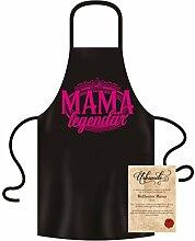 Soreso Design Gebutstagsgeschenk Mama : Schürze und Urkunde :+: Als Mama legendär :+: Geschenk Geschenkidee Grillschürze Farbe: schwarz