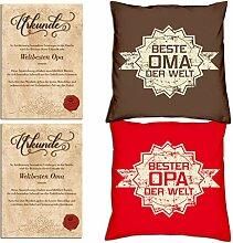 Soreso Design Geschenk Set : 2 Kissen : Oma Opa :