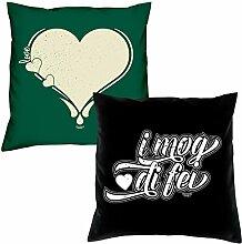 Soreso Design Love Herz I mog di fei zum Valentinstag, Muttertag, Vatertag, Kissen, Dekokissen, Geschenkidee für Sie und Ihn