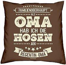 Soreso Design Muttertagsgeschenk Oma Kissen und Urkunde :+: Als Oma hab ich die Hosen an :+: Geschenkset Omatag Geschenk Geschenkidee Farbe:braun