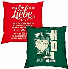 Soreso Design Valentinstagsgeschenk Deko Kissen Set Warum ich Dich liebe in rot Hab Dich lieb in dunkelgrün Geschenk für Sie und Ihn Frauen Männer